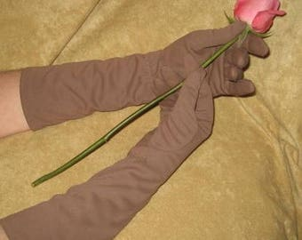 Brown Cotton Gloves 50s Vintage