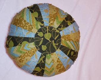"""decorative pillow, pillow in blue and green, Dresdin pillow, sprocket pillow, round pillow, couch pillow, 14""""round pillow,"""