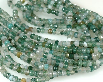 MOSS AGATE Faceted 4mm Rondelle Beads Rondel Beads Translucent - Full Strand