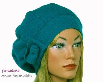 hat beanie cap turquoise  wool