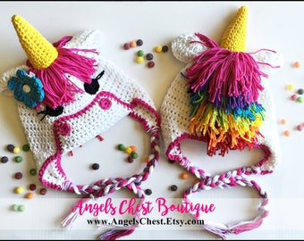 Crochet Pattern Unicorn Earflap or Beanie Hat AngelsChest - Pattern No. 71