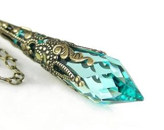 Green Aquamarine Swarovski Crystal Necklace Victorian Style Jewelry Antique Gold Brass Chain Necklace Aqua Green Seafoam Pendant Necklace