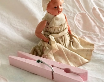 Antique celluloid dollhouse doll, tiny baby doll, original clothes, German celluloid, strung