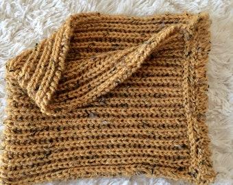 Fishermans Rib Cowl / Plush Knitwear / Cozy Fashion / Fashion Cowl / Hand Knit Fashion / Cozy Cowl / Hand knit Cowl / Golden Yellow Cowl