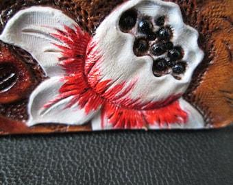 Custom key chains, leather keychains, floral key fob, white flower keychain, colorful key ring