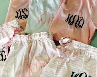 bridesmaid pajamas, Monogrammed pajamas, monogrammed pjs, bridesmaid gift, monogrammed shirt, monogrammed shorts, pajama shorts