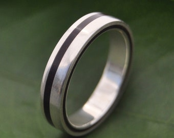 Size 6.5, 4mm READY TO SHIP Equinox Nacascolo Wood Ring with Recycled Silver - wood wedding ring, women's wood ring