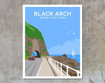 The Black Arch on the Antrim Coast Raod, Larne - vintage style railway travel poster art of Ireland