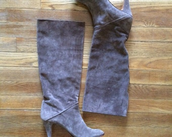 Taupe Suede High Heel Boot Sz 9