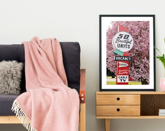 Spring Decor | Mid Century Motel Sign | Neon Sign Print | Nashville Photography | Guest Room Decor | Nashville Art | Magnolia Print | Pink