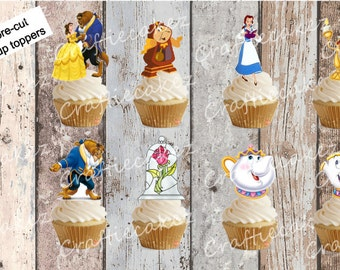 24 x Pre Cut Edible Beauty and the Beast Stand Up Cupcake Toppers