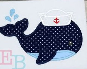 Sailor Whale Embroidered Applique t-shirt