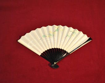Botanical pattern Japanese fan