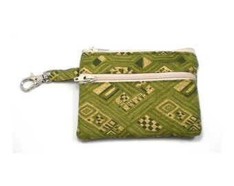 Small Zippered Wallet Change Purse Gadget Case Case Olive Green and Tan 4396