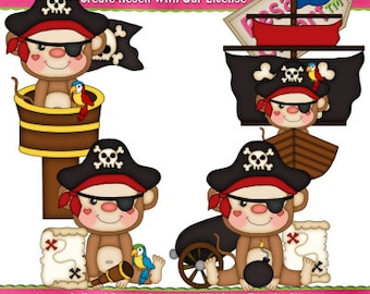 Pirate Monkey Boys 1 Clipart (Digital Download)