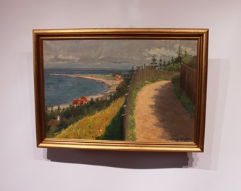 Oil painting of Danish nature and beach signed S. Wethje