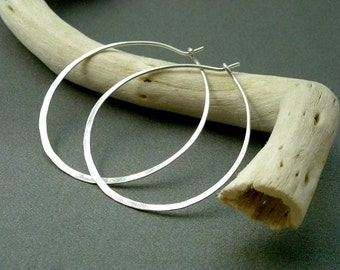 Shiny Silver Earrings - Sterling Silver Hoops, Large size.