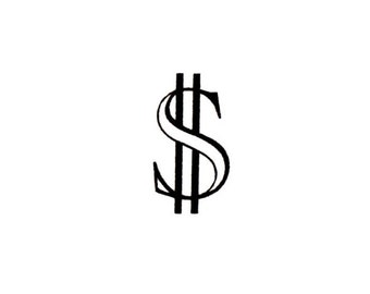 DOLLAR SIGN Unmounted money rubber stamp, United States currency, Sweet Grass Stamps No.15