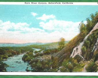 Vintage Postcard - Kern River and Kern River Canyon in Bakersfielf, California  (3184)