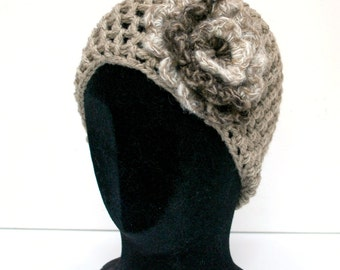Beanie Hat  - Light Brown with Wool Flower