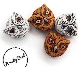 4 - Small - White & Brown Owl Head Beads - Bird Beads - Animal Beads - Novelty Beads - Ceramic