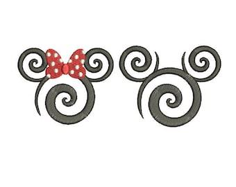 27 Sizes Swirl Swirly Scroll Disney Minnie Mickey Mouse Head Ears Design Embroidery Fill Machine Instant Download EN2136F2_EN2210F7