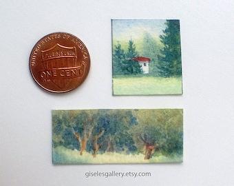 2 Dollhouse miniature paintings - original watercolor 1:24 scale