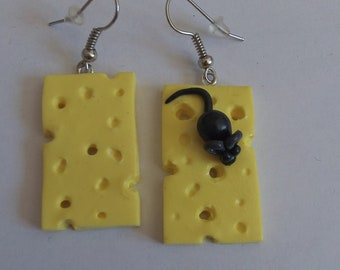 cheese and mouse earrings