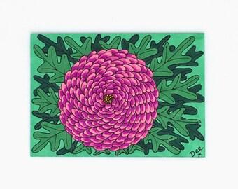 Chrysanthemum Blossom Original ACEO Artist Trading Card, Pink Blossom Pen and Ink Drawing, Original Art, Pink Flower Miniature Artwork