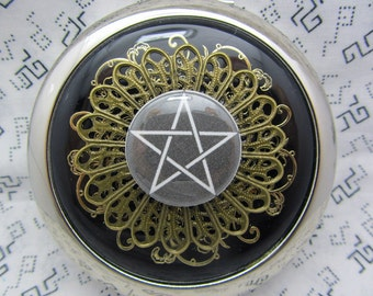 Compact Mirror Makeup Mirror Pocket Mirror Bridesmaid Maid of Honor Gift Bridal Shower Favors Comes With Protective Pouch Pentagram On Black