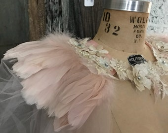 Unique blush tulle and feather cape