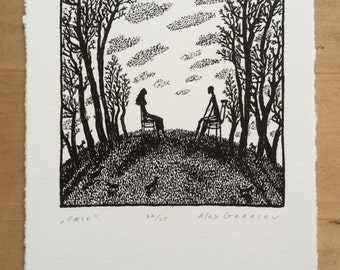 Once - Original Lithograph - by Alex Gerasev - Print Love - Romantic Gift - Free Shipping