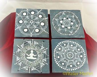 Coaster, set of 4, mandalas, wood with felt, coasters, gift, hand drawn, meditation, spiritual gifts, Valentine's Day