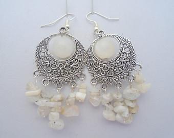 Large Moonstone Earrings, Moonstone Earrings, Moonstone Statement Earrings, White Gemstone Earrings, Moonstone Chandelier Earrings