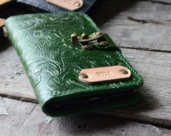 Genuine   leather Wallet iPhone 7 / 7  Plus  Case   iPhone 8/ 8 plus  Wallet case  iphone X  leather case green