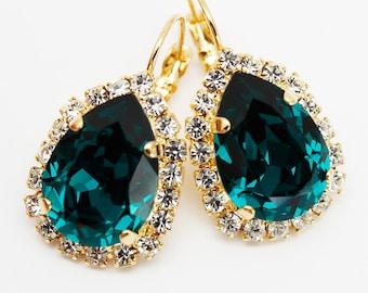 Emerald Green Earrings, Dangle Drop Leverback, Rhinestone Swarovski Crystal, Bridal Bridesmaids, Victorian Wedding Jewelry, Vintage Style