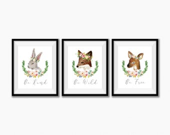 Forest Animals Nursery Decor, Woodland Nursery Wall Decor, Be Wild and Free, Enchanted Forest, Baby Girl Nursery Decor, Woodland Creatures