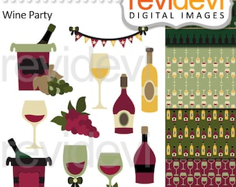 Wine tasting clipart sale, digital papers, commercial use / Wine bottles, wine glasses clip art / chilling wine, commercial use graphic