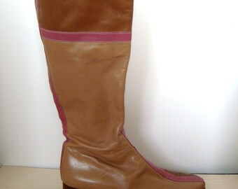 SALE Vintage Valentino Garavani Boots - Riding Style - Pink and Tan Leather - Womens Euro Size 39, US Size 8 to 8.5 - Retro, Mod, Fall