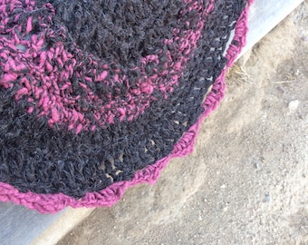 Chunky hand spun llama and wool rug