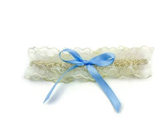Cream Lace and Blue bow Bridal Garter Vintage inspired keepsake garter, something blue
