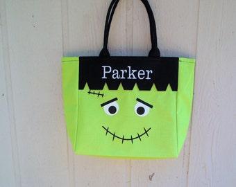 Trick or Treat bag, Frankenstein Halloween bag
