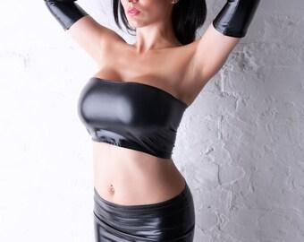 Black Wet Look PVC Lycra Stretch Boob Tube Top Shiny Bandeau B33