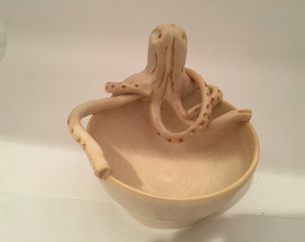 Hand thrown pottery bowl with Octopus