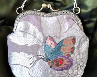 Embroidered  bag, Kiss lock coin purse, prom bag, makeup bag,clutch, Wedding Purse, frame purse, Metal frame  purse, butterfly, Gift for her