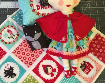 Little Red Riding Hood handmade stuffed doll and accesorries