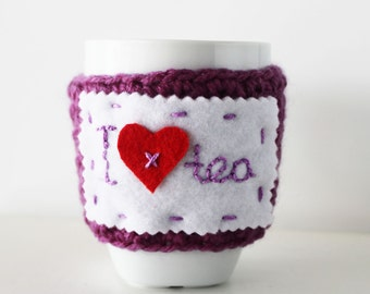 Purple mug cozy, Heart mug warmer, Personalized Valentines gift, Valentines day gift, Coffee cup cozy, Lovers gift, Custom Valentines cozy