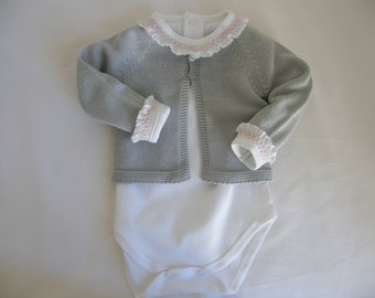 Body embroidered 3 6 12 months (pink, blue, grey)