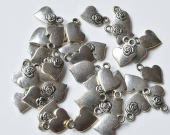 Heart Charms, 1 oz, Silver, Jewelry, Crafts, DIY, Silver Charms, Silver Hearts
