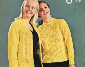 Ladies Vintage Cardigan Knitting Pattern - 32 to 42 inches - Double Knitting